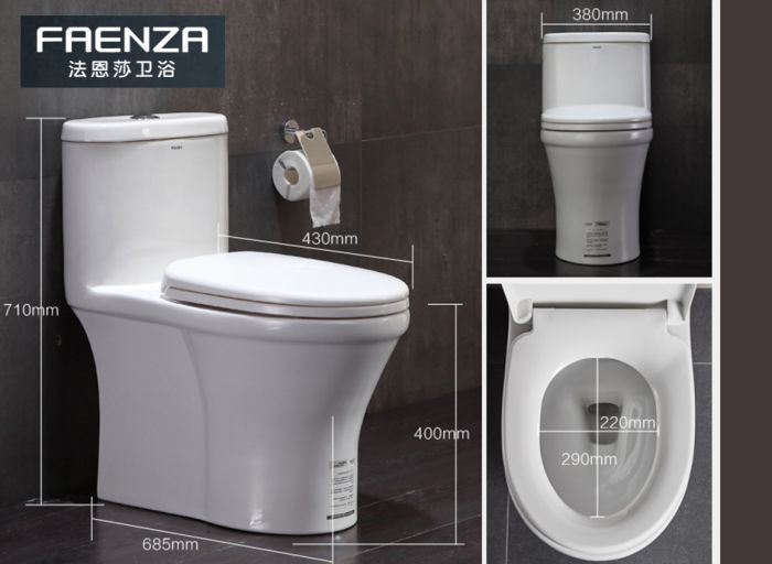 法恩莎(FAENZA) 家用抽水马桶坐便器节水防臭静音坐厕座便器 编号:ECS001871