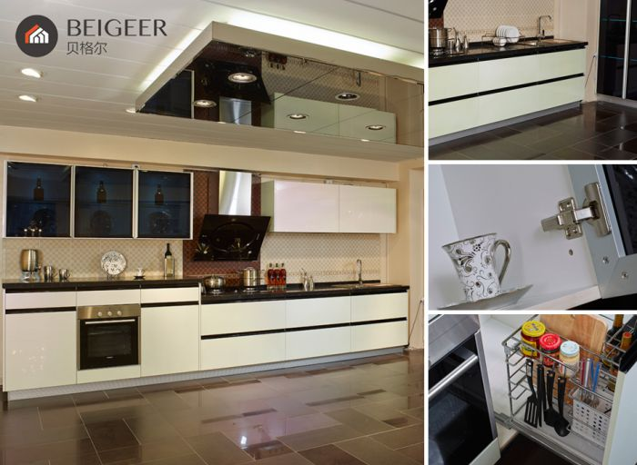 贝格尔现代简约风格烤漆橱柜定制 整体橱柜定做 石英石台面 都市极光 编号:ECS001841